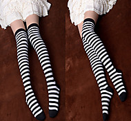 Black and White Striped Cotton Punk Lolita Over Knee Socks