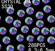 288pcs 6.3-6.5mm de color ab brillo cristalino del rhinestone flatback decoración del arte del clavo