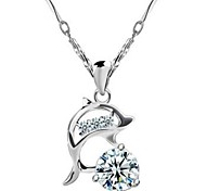 925 Sterling Silver Crystal Silver Female Short Paragraph Dolphin Pendant