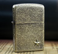 Earth Gold Pointed Star Pattern Metal Relief Oil Lighter  Style Random