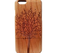 Kyuet Wooden Case Artist Made Cherry Wood Laser Engraving Trees Shell Cover Skin Cell Phone Case for iPhone 6 Plus