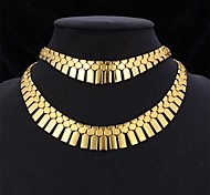 U7® Geometric Tassels Rock Star Bracelet Collar Necklace 18K Gold Plated Platinum Plated Set Jewelry Set For Women