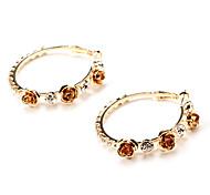 moda 4 centimetri rosa orecchini a cerchio in rame dorato (1 coppia)