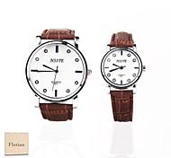 Personalized Gift New Style Couple's White Case PU  LeatherBand Quartz Analog Wrist Engraved Watch