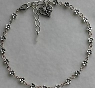 European Tibetan Silver Heart-shaped Anklet