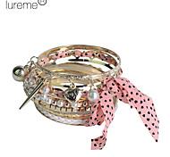 lureme®alloy bracelet en tissu multicouche couleur rose Bracelet plaqué or