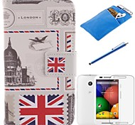 British Style Design PU Leather Full Body Case with Stylus、Protective Film and Soft Pouch for Motorola moto E