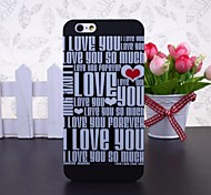English Letters I Love You Patchwork Pattern Black Plastic Hard Case for iPhone 6