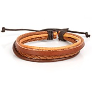 Simple Adjustable Men's Leather Bracelet Very Cool Light Brown And Coffee Twist Leather (1 Piece)