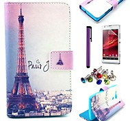 Signature Eiffel Tower Pattern PU Leather Case with Screen Protector and Dust Plug for Sony Xperia SP M35h