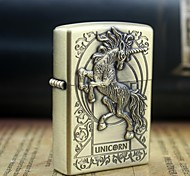 Earth Gold Horses Pattern Metal Relief Oil Lighter