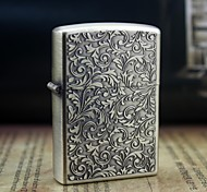 Personalized Engrave Rich Flowers Pattern Gold Metal Oil Lighter Style Random