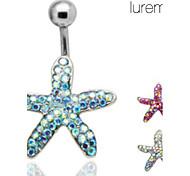 lureme®silver покрытием из нержавеющей стали стразами звезды пупок / уха пирсинг (случайный цвет)