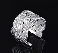 Woman's Fashion Sliver Adjustable Weave Net Ring