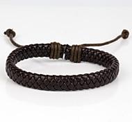 pulsera de cuero fresco dura de cuero de color marrón oscuro cómodos de los hombres ajustables (1 unidad) de la joyería