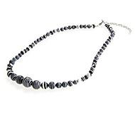 Unisex Fashionable Stripe-Shaped Black And White Turquoise Necklace (1Pc)