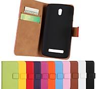colore solido in vera pelle corpo pieno con il basamento e la carta slot per HTC Desire 500 (colori assortiti)