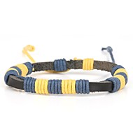 Comfortable Grandma's Knit Men's Leather Yarn Leather Yellow Blue  (1 Piece)