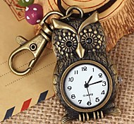 Unisex Punk Style Owl-Shaped Round Dial Leather&Alloy Quartz Necklace /Keychain Watch Green Patina (1Pc)