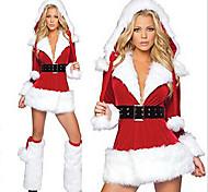 velluto stravagante vestito dal Babbo Natale adulto costume della donna di Natale