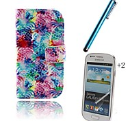 Colorful PU Leather Full Body Case with Touch Pen and Protective Film 2 Pcs for Samsung Galaxy Trend Lite S7390 S7392