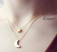 Eruner® Fashion (Star & Moon) Double Chain Alloy Pendant Necklace