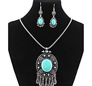 lureme® plaqué ethniques argent tibétain tophus ovale goutte d'eau collier boucles d'oreilles en alliage costume