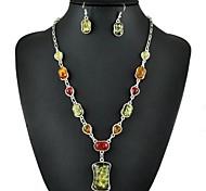 colar de âmbar quadrado colorido do vintage& conjunto de jóias brincos
