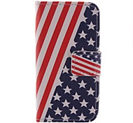 Stars And Stripes Pattern PU Leather Full Body Case with Touch Pen for iPhone 4/4S