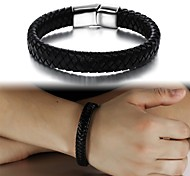 Super Man Fashion Leather Hand-woven Titanium Steel Buckle Bracelet
