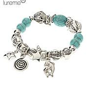 Lureme®Vintage Bohemian Style Star Pendant Turquoise Bracelet