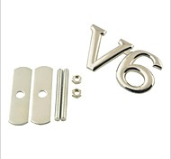 3D V6 Grill Decoration Emblem for Car Tuning - Silver