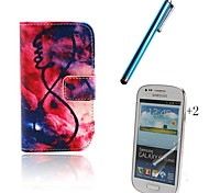 Flame PU Leather Full Body Case with Touch Pen and Protective Film 2 Pcs for Samsung Galaxy Trend Lite S7390 S7392