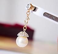 número 5 rhinestone de la perla 3.5mm tapa anti-polvo para el iphone / samsung / HTC