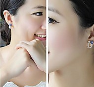 Fashion D Letter Rhinestone  Flower Pearl Earrings 7-1