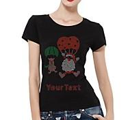 personalisierte Strass t-shirts Sankt und Schwein Fallschirmmuster Frauen Baumwolle Kurzarm