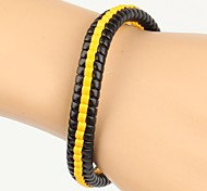High Fashion Bumblebee Hard Middle Line Leather Bracelet Black And Yellow(1 Piece)