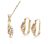 Z&X® European Style 18K Gold Plated Contracted Pendant Necklace Earrings Jewelry Set (1 set)