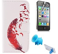 Red Feather Patterns PU Leather Full Body Cover with Pig Stand and Protective Film for iPhone 4/4S