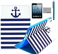 COCO FUN® Navy Blue Anchor Pattern PU Leather Flip Stand Case with Film and Stylus for Apple iPad mini 1/2/3