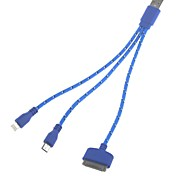 3-in-1 Universal USB 2.0 Charging and Data Cable for Samsung and iPhone (22cm)