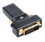 360Degree DVI Male to HDMI Female High Quailty Gold-Plate HD HDMI V1.4 Computer Connection Adapter