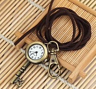 Unisex Vintage Lucky Key Pattern Round Dial Leather&Alloy Quartz Necklace /Keychain Watch Green Patina (1Pc)