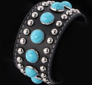 U7® Genuine Leather Bracelet Turquoise Platinum Plated Resizable Bohemia Bracelet for Men Fashion Jewelry Christmas Gifts