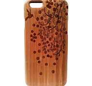 Kyuet Bamboo Case Artist Made Natural Bamboo Laser Engraving Of Spring Shell Cover Skin Cell Phone Case for iPhone 6