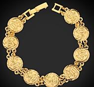 u7® muçulmanos moeda allah sorte pulseira 18k ouro, platina vintage banhado pulseira islâmico