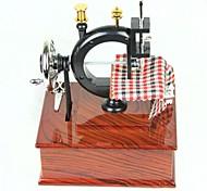 C-Type Sewing Machine Style Music Box - Brown + Black
