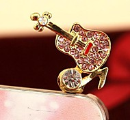 1Pcs Fashion Guitar Note Rhinestone 3.5mm Anti-dust Plug for iPhone 6 and Others(Random Colors)