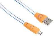 95CM Micro USB Flexible Similing Face  Cable for HTC/Xiaomi/Huawei