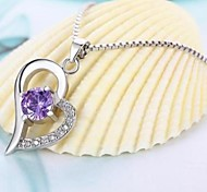 Women's Silver Heart Pendant Necklace Fashion Pendant Necklace Classic